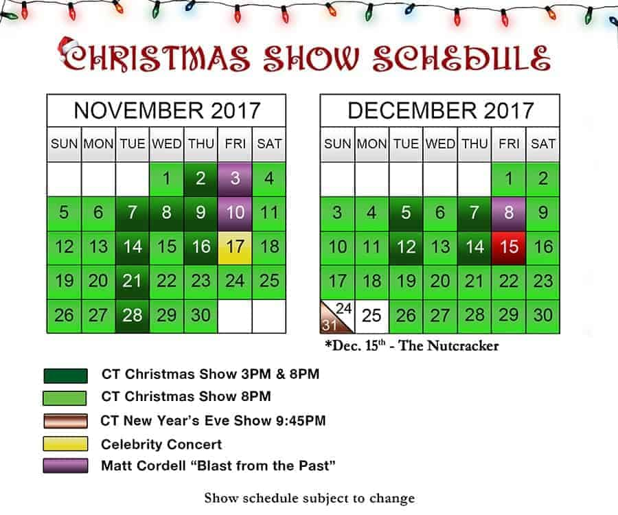 Country Tonite Christmas Schedule Pigeon Forge, TN